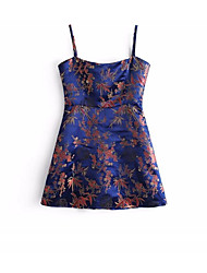cheap -Women's Holiday / Going out Simple / Basic Cotton A Line Dress - Floral Strap / Strapless / Off Shoulder / Boat Neck / Summer