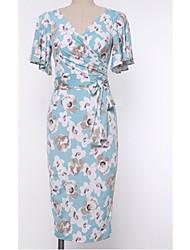 baratos -Mulheres Sofisticado / Boho Manga Alargamento Tubinho Vestido - Estampado, Geométrica Acima do Joelho Azul e Branco