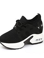 baratos -Mulheres Sapatos Malha Respirável / Couro Ecológico Outono Conforto Tênis Caminhada Creepers Ponta Redonda Branco / Preto