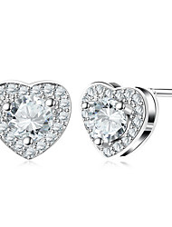 cheap -Women's Heart Stud Earrings / With Gift Box - Fashion Silver Heart Rate Earrings For Wedding / Daily