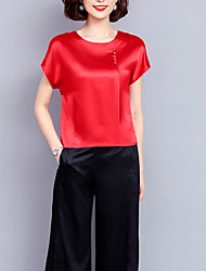 cheap -women's silk t-shirt - solid colored round neck