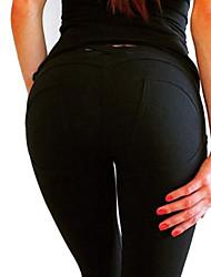 abordables -Femme Coton Sportif Legging - Couleur Pleine Taille basse
