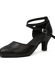 baratos -Mulheres Sapatos de Dança Moderna Pele Têni Rendado Salto Cubano Sapatos de Dança Dourado / Preto / Ensaio / Prática