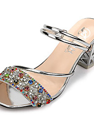 cheap -Women's Shoes Patent Leather Summer Comfort Sandals Low Heel Round Toe Sparkling Glitter for Casual Gold Silver