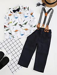abordables -Ensemble de Vêtements Garçon Soirée Quotidien Motif Animal Coton Polyester Printemps Automne Manches Longues simple Décontracté Blanc