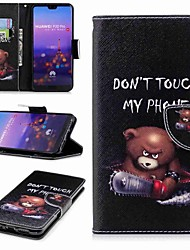 cheap -Case For Huawei P20 lite P20 Pro Card Holder Wallet with Stand Flip Pattern Full Body Cases Word / Phrase Hard PU Leather for Huawei P20