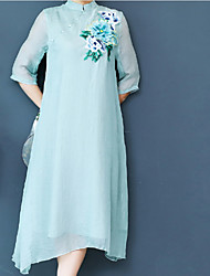 cheap -Women's Basic Chinoiserie Tunic Dress - Solid Colored Floral Embroidered