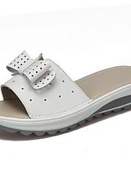 cheap -Women's Shoes Tulle / Cowhide Summer / Fall Comfort Slippers & Flip-Flops Flat Heel Yellow / Blue / Pink