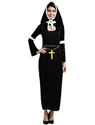 baratos -Missionário Roupa Mulheres Dia Das Bruxas / Carnaval / Dia dos Mortos Festival / Celebração Trajes da Noite das Bruxas Preto Sólido /
