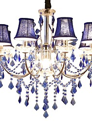 baratos -QIHengZhaoMing 9-luz Estilo de vela Lustres Luz Ambiente - Cristal, 110-120V / 220-240V, Branco Quente, Lâmpada Incluída / 15-20㎡