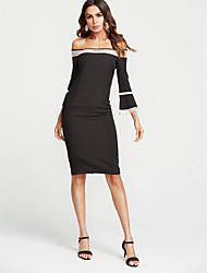 cheap -Women's Cute Basic Slim Bodycon Dress - Solid Colored High Waist V Neck