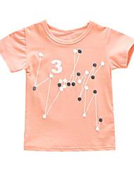 Недорогие -Дети (1-4 лет) Девочки Геометрический принт С короткими рукавами Футболка