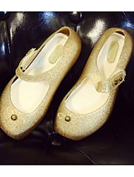 baratos -Para Meninas Sapatos PVC Primavera Verão Bailarina / Plástico Sandálias Laço para Infantil Dourado / Preto / Vermelho
