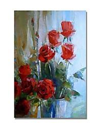 preiswerte -Hang-Ölgemälde Handgemalte - Abstrakt / Blumenmuster / Botanisch Zeitgenössisch / Modern Segeltuch