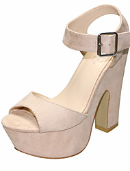 cheap -Women's Shoes Fabric Summer Slingback Sandals Chunky Heel Peep Toe Buckle Light Green / Nude / Royal Blue / Party & Evening