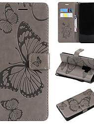 baratos -Capinha Para Samsung Galaxy S9 Plus / S9 Carteira / Porta-Cartão / Com Suporte Capa Proteção Completa Borboleta Rígida PU Leather para S9 / S9 Plus / S8 Plus
