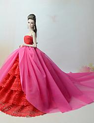 baratos -Vestidos Vestir Para Boneca Barbie Fúcsia Poliéster / Algodão / Renda Vestido Para Menina de Boneca de Brinquedo