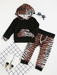 cheap -Girls' Animal Print Color Block Clothing Set, Cotton Polyester Spring Fall Long Sleeves Cute Active Black