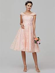 cheap -A-Line Off Shoulder Knee Length Lace Over Satin Bridesmaid Dress with Lace by LAN TING BRIDE®