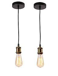 abordables -2 pcs vintage loft mini lampes suspendues barres de métal cuisine pendentif salle à manger lumière