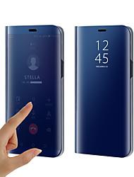 Недорогие -Кейс для Назначение SSamsung Galaxy S9 / S9 Plus / S8 Plus Покрытие / Зеркальная поверхность / Флип Чехол Однотонный Твердый Силикон