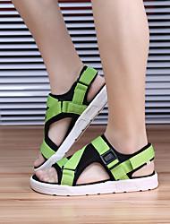 Недорогие -Муж. обувь Трикотаж Лето Светодиодные подошвы Сандалии для на открытом воздухе Черный Серый Зеленый Синий