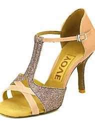 abordables -Mujer Zapatos de Baile Latino / Zapatos de Salsa Satén / Seda Sandalia / Tacones Alto Hebilla / Corbata de Lazo Tacón Personalizado