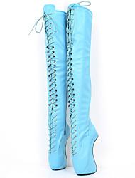 povoljno -Žene Cipele PU Jesen zima Inovativne cipele / Modne čizme Čizme Heterotipski peta Okrugli Toe Čizme preko koljena za Zabava i večer Crn /