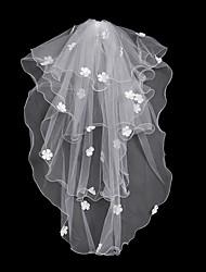 baratos -Duas Camadas Floral / Grade / Vestido Convertível Véus de Noiva Véu Capela Com Franja / Recortes 31,5 cm (80cm) POLY / Tule