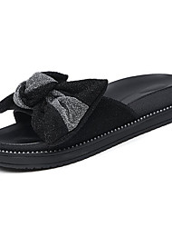 cheap -Women's Shoes PU Fabric Summer Comfort Slippers & Flip-Flops Flat Heel Bowknot for Casual Black Red Blue