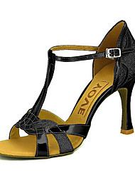 cheap -Women's Latin Shoes / Salsa Shoes Sparkling Glitter / Leatherette Sandal / Heel Buckle / Ribbon Tie Customized Heel Customizable Dance