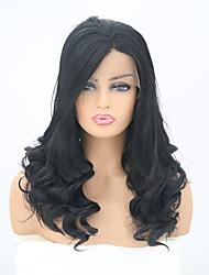 abordables -Perruque Lace Front Synthétique Ondulé Noir Partie latérale Noir Naturel Cheveux Synthétiques 22 pouce Femme Ajustable / Résistant à la chaleur Noir Perruque Long Lace Frontale