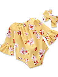 billige -Baby Pige Blomstret / Trykt mønster 3/4-ærmer Tøjsæt