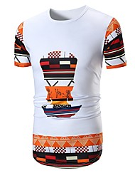 baratos -Homens Camiseta Básico Estampa Colorida / Retrato