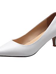 Недорогие -Жен. Обувь Кожа Весна лето Удобная обувь Обувь на каблуках На низком каблуке Закрытый мыс Белый / Черный / Миндальный