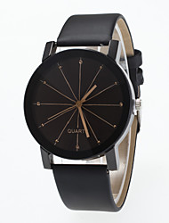 cheap -Men's Women's Wrist Watch Quartz Large Dial Leather Band Analog Fashion Minimalist Black - Black
