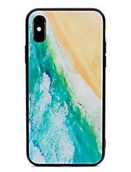 Недорогие -Кейс для Назначение Apple iPhone X / iPhone 8 С узором Кейс на заднюю панель Пейзаж Твердый Закаленное стекло для iPhone X / iPhone 8