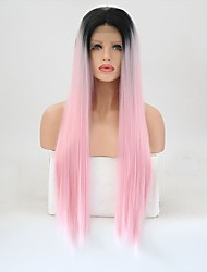 cheap -Synthetic Lace Front Wig Straight Pink Layered Haircut Synthetic Hair Natural Hairline Pink Wig Women's Long Lace Front Pink / Yes