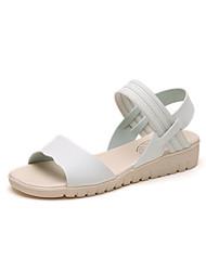 baratos -Mulheres Sapatos Courino Verão Conforto Sandálias Sem Salto Ponta Redonda para Ao ar livre / Escritório e Carreira Bege / Azul / Rosa