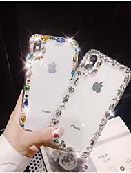 Недорогие -Кейс для Назначение Apple iPhone X / iPhone 7 Plus Стразы Кейс на заднюю панель Блеск Твердый ТПУ для iPhone X / iPhone 8 Pluss / iPhone 8