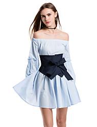 baratos -Mulheres Básico Moda de Rua Bainha Vestido Sólido Altura dos Joelhos
