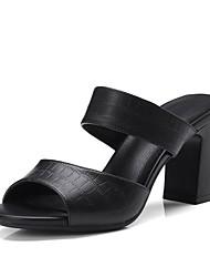 baratos -Mulheres Sapatos Pele Primavera Verão Plataforma Básica Sandálias Salto Robusto para Ao ar livre Preto Amêndoa