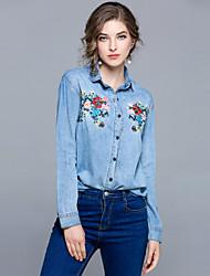 baratos -Mulheres Camisa Social Activo / Moda de Rua Bordado, Floral
