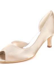 Mujer Zapatos Satén Primavera verano Pump Básico Zapatos de boda Tacón Kitten Punta abierta Recogido Lateral Azul Real / Champaña / Marfil 2018 À Vendre Vente Meilleur 5aWLXhW4Z