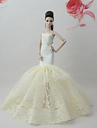 Недорогие -Платья Платье Для Кукла Барби Абрикосовый Кружево / Шелково-шерстяная ткань Платье Для Девичий игрушки куклы