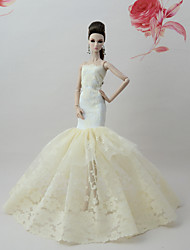 baratos -Vestidos Vestir Para Boneca Barbie Adamascado Renda / Mistura de Seda / Algodão Vestido Para Menina de Boneca de Brinquedo