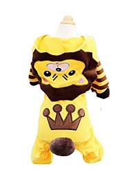 cheap -Dogs / Cats / Pets Shirt / T-Shirt / Sweatshirt / Hoodie Dog Clothes Striped / Patterned / Cartoon Yellow Cotton Costume For Pets Male