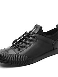 preiswerte -Herrn Schuhe Leder Frühling Komfort Sneakers Weiß / Schwarz / Silber