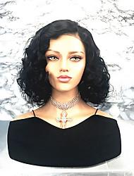 billige -Remy hår Blonde Front Paryk Brasiliansk hår Krøllet Side del / Bob frisure 130% Massefylde Kort Dame Blondeparykker af menneskehår
