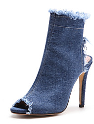Недорогие -Жен. Обувь Деним Наступила зима Оригинальная обувь / Удобная обувь Ботинки На шпильке Открытый мыс Ботинки для Офис и карьера / Для